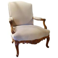 French Louis XV Style Fauteuil a La Reine or Armchair, Early 20th Century