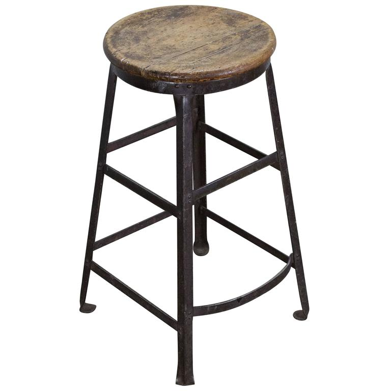 American Industrial Stool With Wooden Seat For Sale At 1stdibs