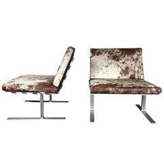 American Modern Flat-Bar Steel Lounge Chairs, Brazilian Hide, 1970