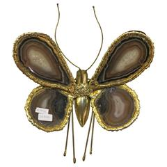 1970 Wall Lamp Butterfly Duval Brasseur with Wings Agates 38 X 42 cm