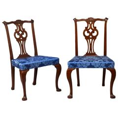 Pair of Transitional Chippendale Carved Side Chairs