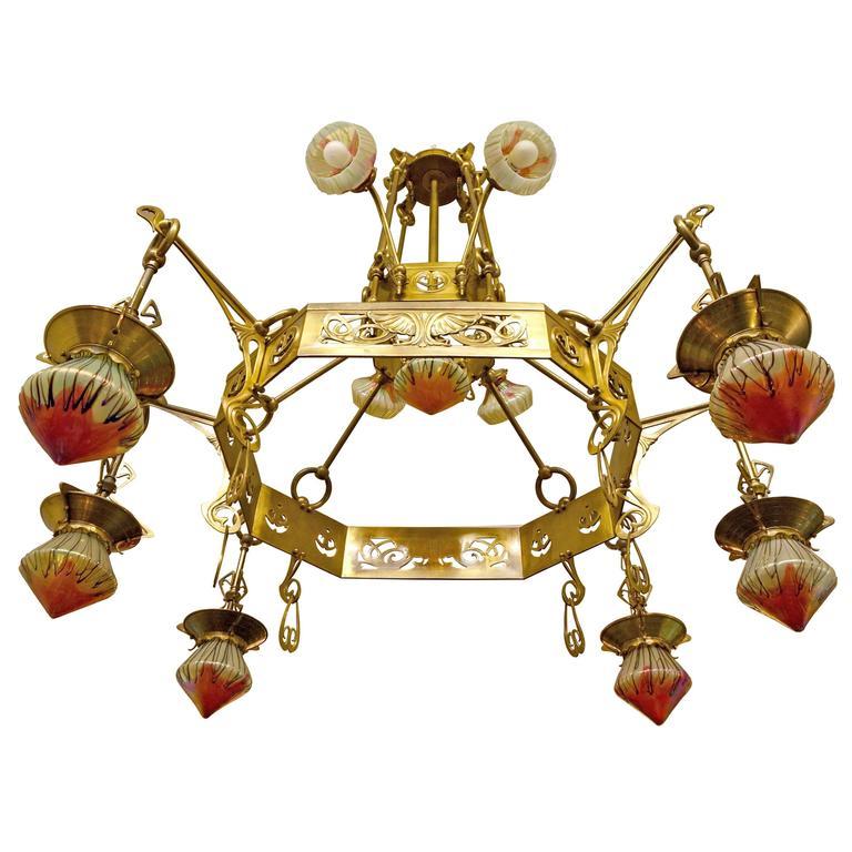 Rare Huge Art Nouveau Chandelier With Elisabeth-Hutte Glass For Sale