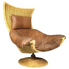 Rattan and Leather Swivel Lounge Chair, Gerard Van Den Berg, Netherlands, 1970