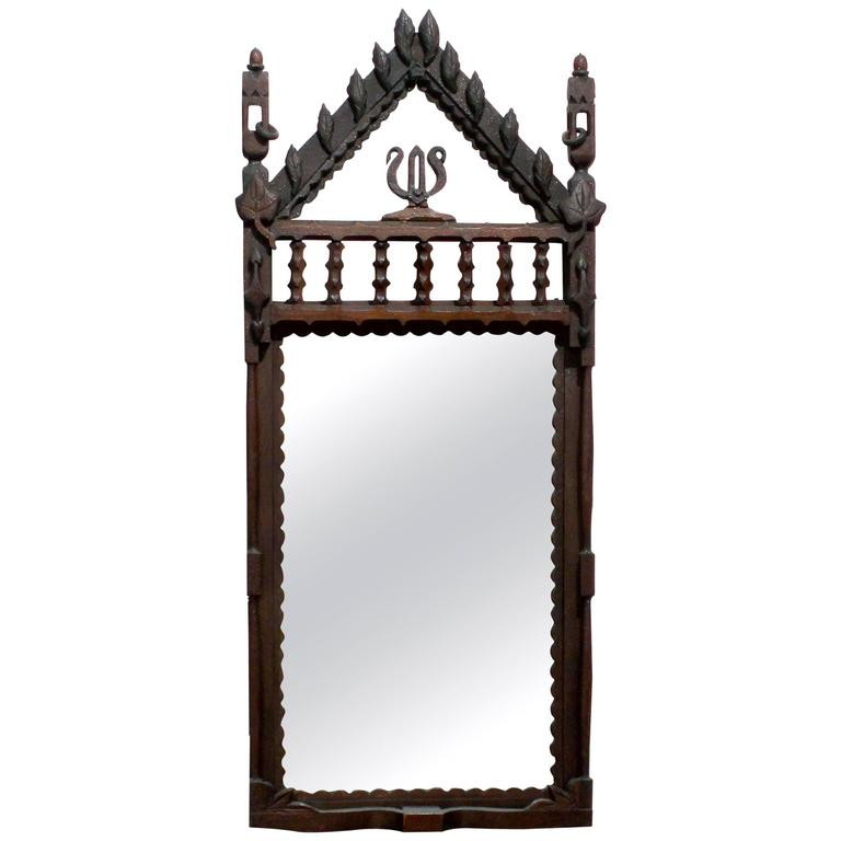 Folk carved frame with original mirror chicago circa for Glass cut work designs