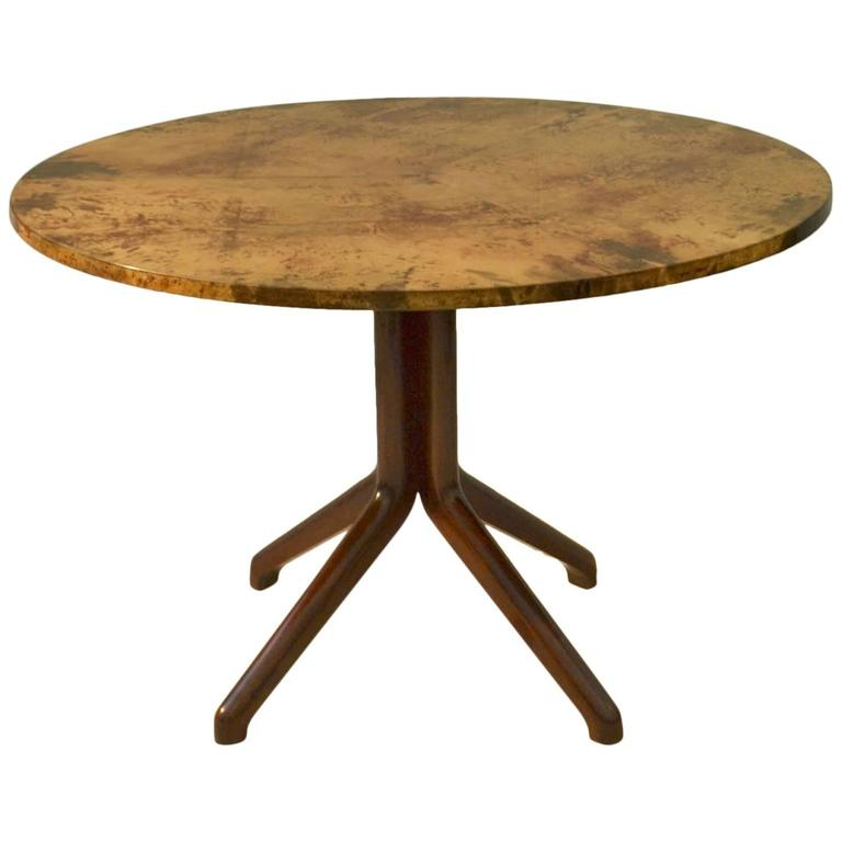 Aldo Tura Parchment and Ebonized Wood Dining Table
