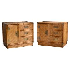 Pair of Mid-Century Woven Reed Nightstands or Side Cabinets