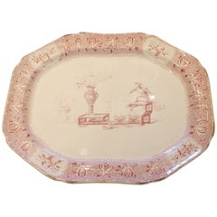 19th century English Large Faience Serving Platter with Chinoiserie Scene