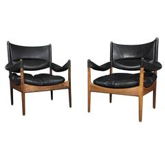 """Pair of """"Modus"""" Armchairs, Leather and Rosewood, Kristian Vedel, Denmark, 1960s"""