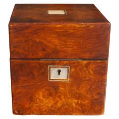 English Regency Burl Walnut Medical Box, Circa 1820