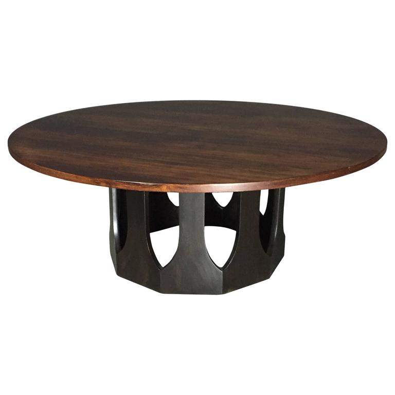 42 Round Coffee Table Dark Stained Base Harvey Probber 1970s At 1stdibs