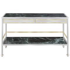 Console Table/Dry Bar in Polished Steel with Inset Marble by Paul M. Jones