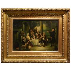 """Oil on Board """"At Dinner"""" by Sir David Wilkie in a Giltwood Frame, 19th Century"""