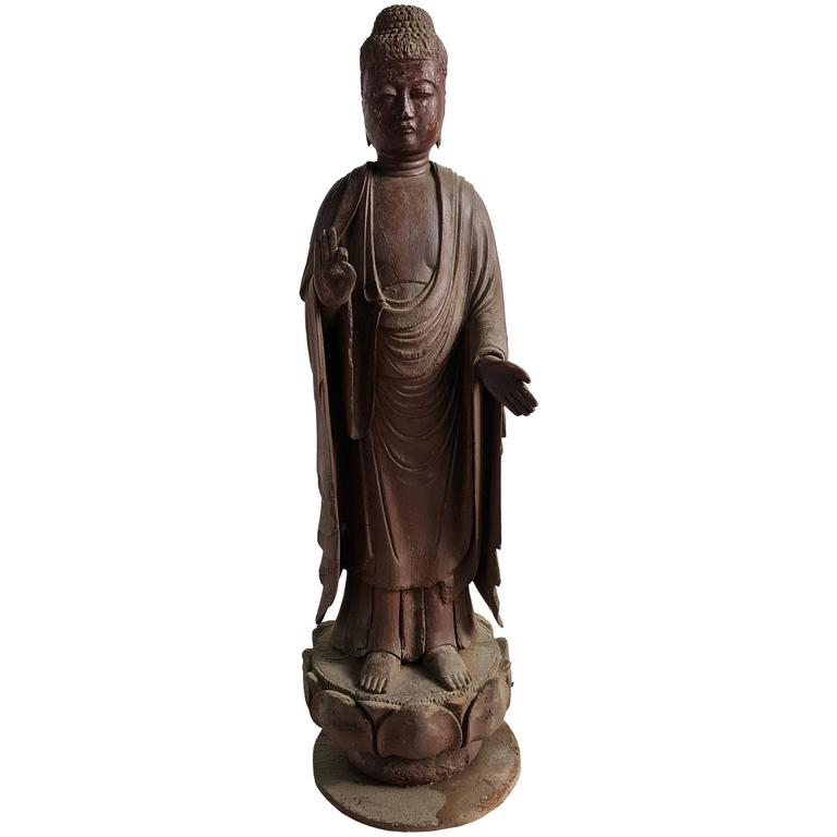 "19th Century Japanese Carved Wood Buddha Figure Standing on Lotus ""Amida"""