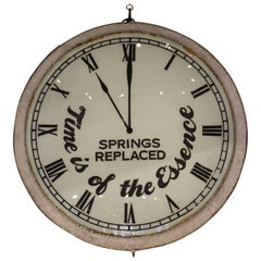 "Vintage Oversized ""Time is of the Essence"" Clock-shaped Clockmaker Metal Sign"