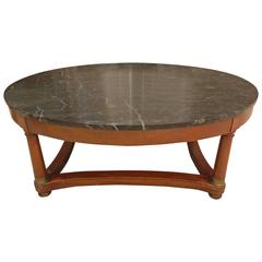 Empire Style Coffee Table with a Marble Top, Late 19th Century