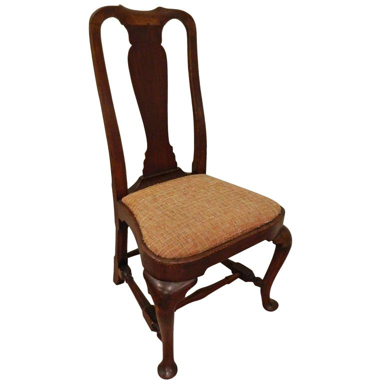 American Queen Anne Walnut Side Chair New England Circa 1740 1760 For Sale At 1stdibs