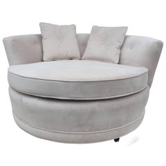 Milo Baughman Style Extra Large Circular Two-Seat Club Chair