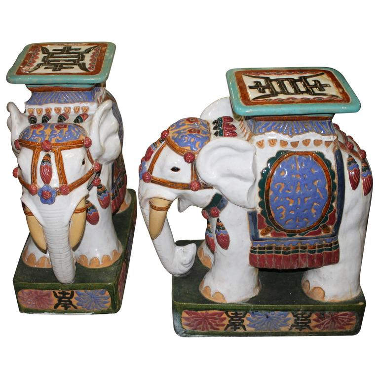 Pair Of Vintage Elephant Garden Stools Stands Seats Hollywood Regency Plant  For Sale