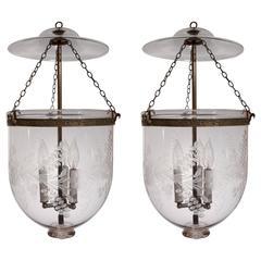 Pair of 19th Century English Bell Jar Lanterns
