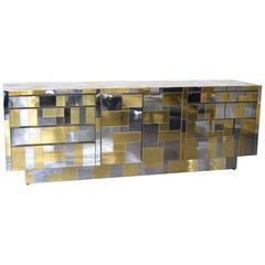 Cityscape Cabinet in Chrome and Brass by Paul Evans