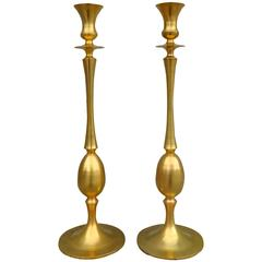 Monumental Pair of French Matte Gilt Bronze Candle Holders, circa 1990