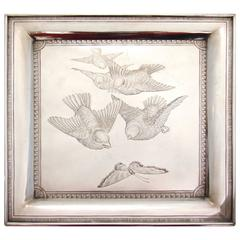 American Victorian Sterling Silver Tray by Whiting Depicting Birds and Butterfly