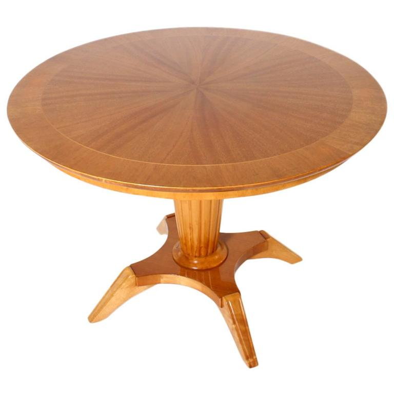 Round French Merisier Table With Adjustable Height Circa