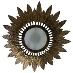 Flush Mounted Sunburst Ceiling Fixture with Leaves