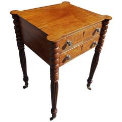 American Mahogany and Tiger Maple Outset Corner Stand, Circa 1810