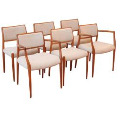 Six Danish Modern Dining Chairs by Niels Otto Møller