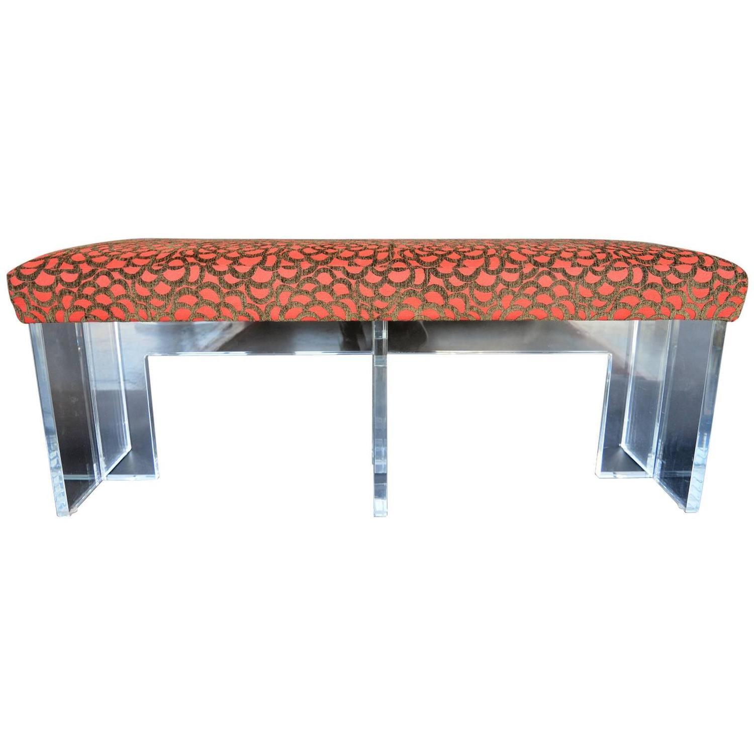 Red Upholstered Lucite Bench At 1stdibs