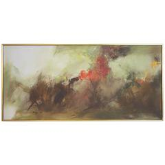 Mid-Century Atmospheric Abstract Oil by Korean Artist Soojai Lee
