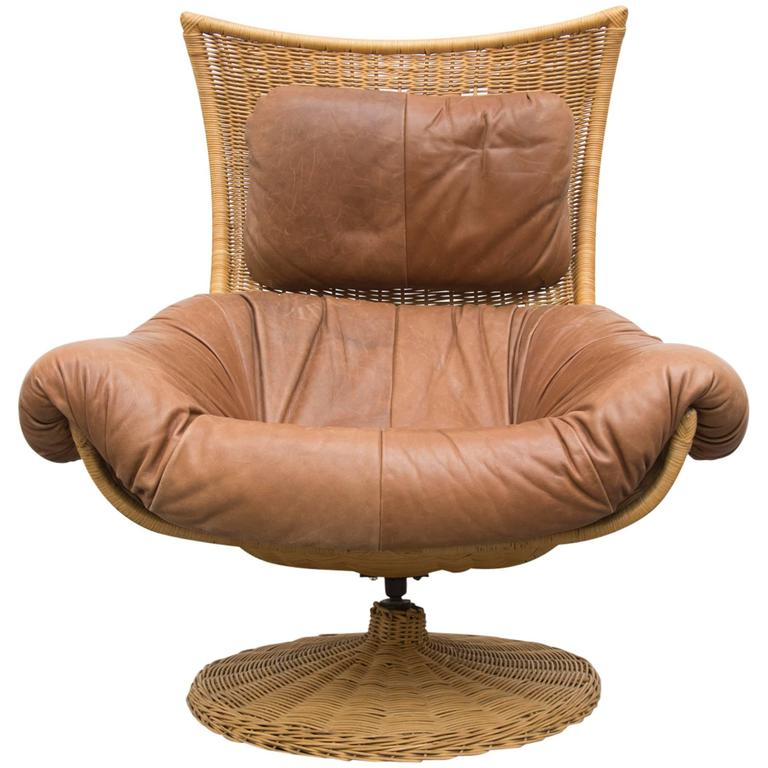 Gerard Van Den Berg Leather And Rattan Swivel Lounge Chair