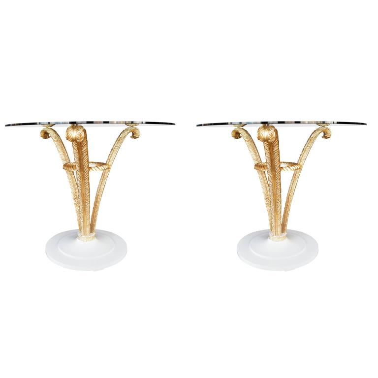 Pair of Grosfeld House Gold Leaf Side Tables