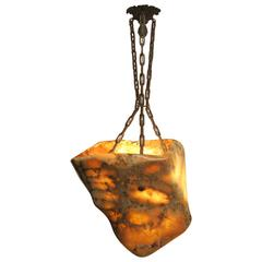 Alabaster Light Fixture with Antique Bronze Hardware