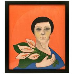 Studied Portrait of Woman Holding Lilies, Signed Williamson
