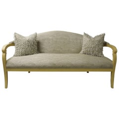 "J Robert Scott Neutral ""Deanna"" Sofa in Lacquer and Custom Fabric"