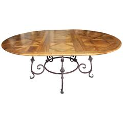 French Walnut Parquet Top Oval or Round Dining Table