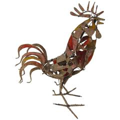 Mid-Century Wire and Cardboard Rooster Sculpture