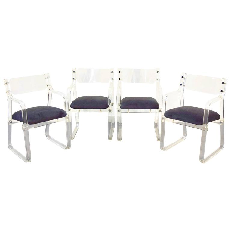 Set Of Four Lucite Dining Chairs For Sale At 1stdibs