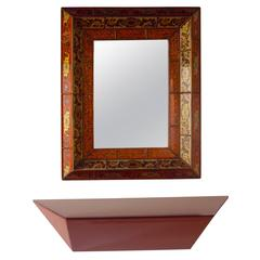 Hand-Painted Mirror and Lacquer Hanging Console from a Steve Chase Estate