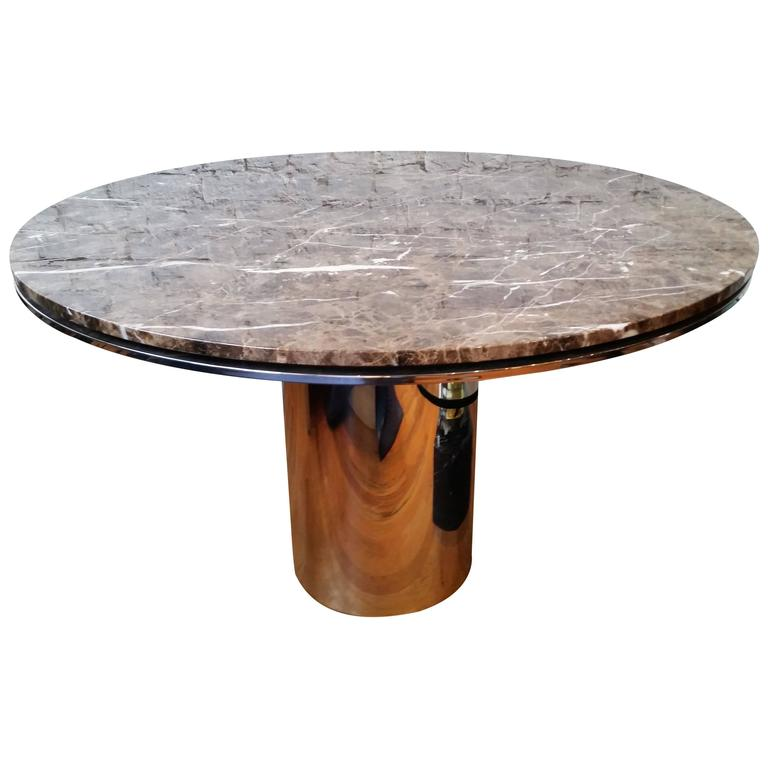Round Chrome And Marble Dining Table By Brueton For