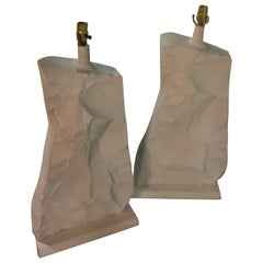 Monumental Pair of Rock Stone Table Lamps Sirmos Style Vintage Mid Century Mod