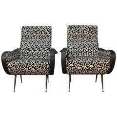 Pair of Italian Modern Mid-Century Lounge Chairs