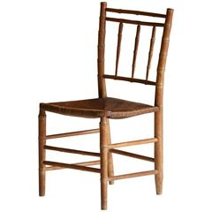 French Faux Bamboo Bistro Chair, circa 1940s