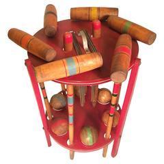 Six Player Croquet Set on Stand, USA, 1950s