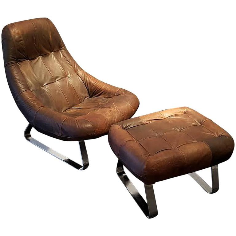Percival Lafer Leather and Chrome Earth Lounge Chair with Ottoman at 1stdibs