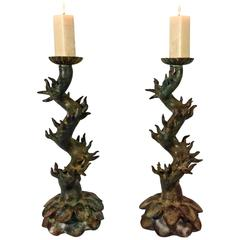Pair of Bronze Candlesticks by Luciano Tempo