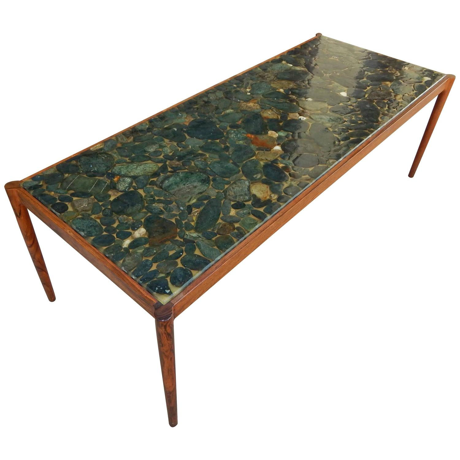 Swedish Mid Century Modern Rosewood And River Rock Coffee