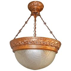 Swedish Arts and Crafts Hand Hammered Copper Hanging Fixture, circa 1910